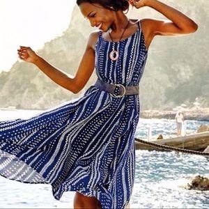 Cabi 5048 Margherita Blue Print Pocket Midi Dress